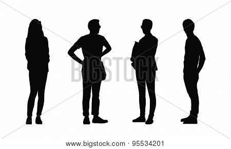People Standing Outdoor Silhouettes Set 32