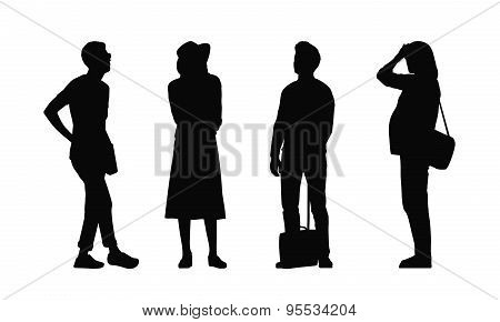 People Standing Outdoor Silhouettes Set 33