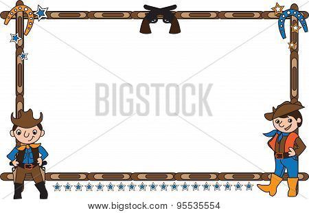 Frame with cowboys