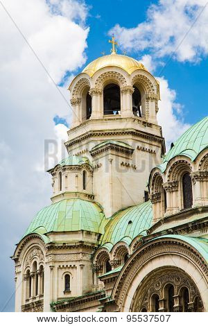 Architectural details of St. Alexander Nevski Cathedral in Sofia, Bulgaria
