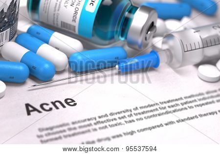 Diagnosis - Acne. Medical Concept.