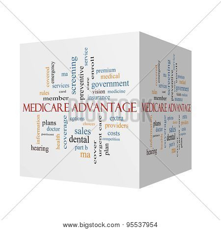 Medicare Advantage 3D Cube Word Cloud Concept