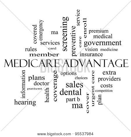 Medicare Advantage Word Cloud Concept In Black And White