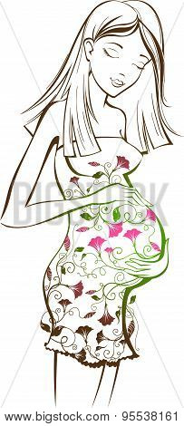 Pregnant Woman With Floral Pattern.