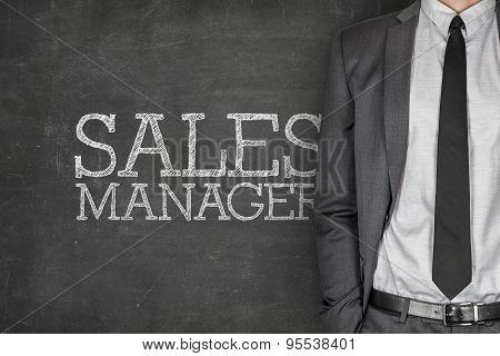Sales manager on blackboard