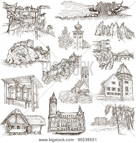 Architecture, Faous Places - Collection Of Freehand Sketches