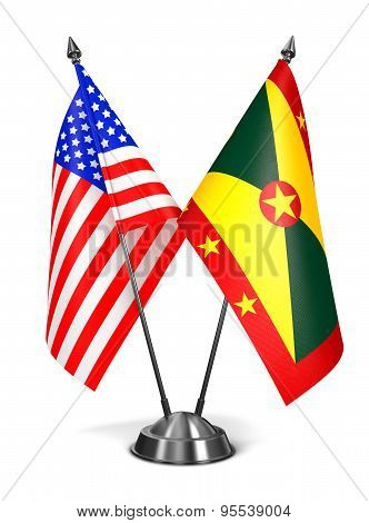 USA and Grenada - Miniature Flags.