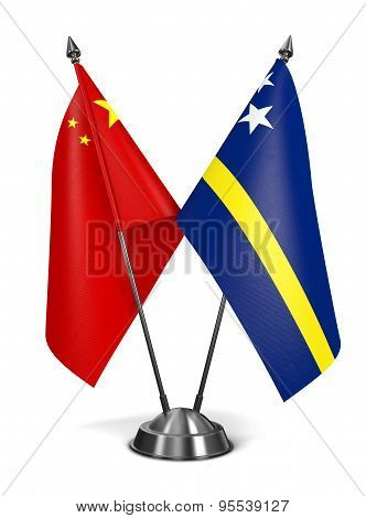 China and Curacao - Miniature Flags.