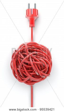 Plug with knotted cable