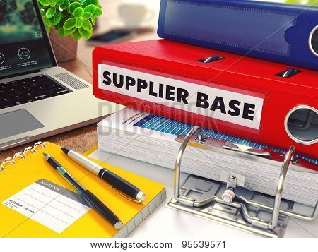 Supplier Base on Red Office Folder. Toned Image.