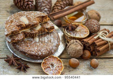 Nuremberg gingerbread is a traditional Christmas treat. Gingerbread with nuts and spices