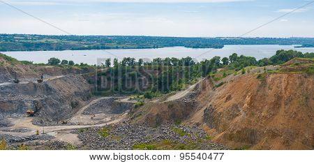 Quarry beside big river Dnepr near Dnepropetrovsk city