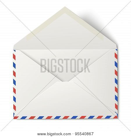 White Opened Air Mail Envelope Isolated On White Background