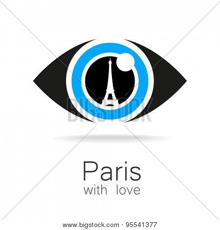 Paris with love - an idea for a design template sign. Silhouette of Eiffel Tower in the reflection eyes.