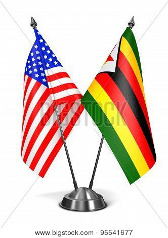 USA and Zimbabwe - Miniature Flags.