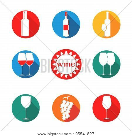 Vector Design Set Simbols For Wine With Glass, Bottle, Grape On Round Background Different Colors