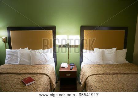 Double Queen Bed Hotel Room Travelers Motel Suite
