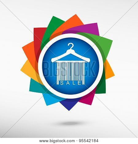 Sale Barcode Clothes Hanger Color Icon, Vector Illustration