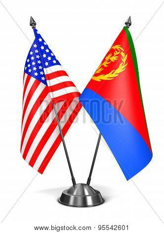USA and Eritrea - Miniature Flags.