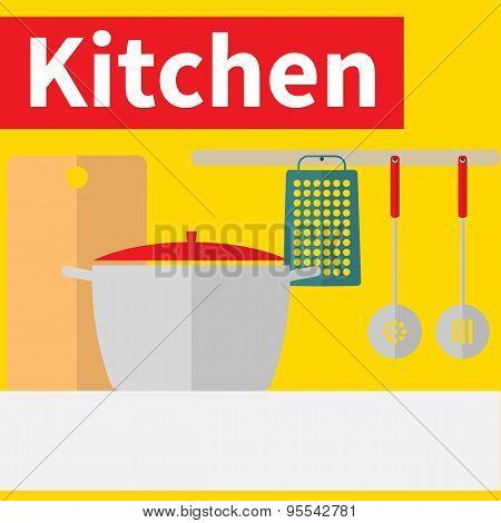 Kitchen interior flat design illustration