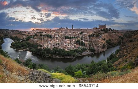 Toledo Panorama At Dusk, Castile-la Mancha, Spain