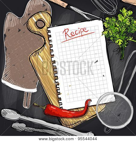Chalkboard design with cutting board and kitchen utensil, and empty recipe list