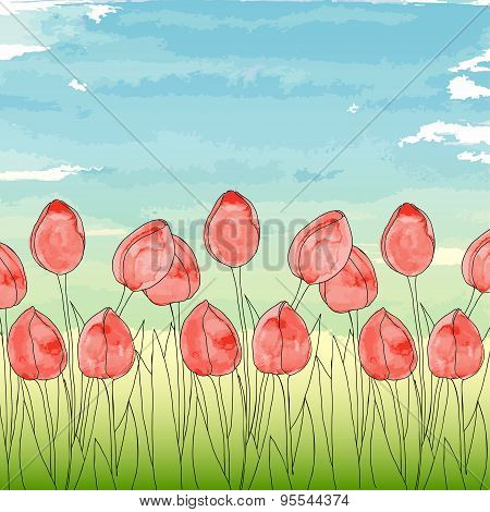 Template with spring flowers (tulips) on a blue sky background.