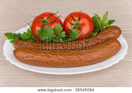 Smoked Sausage, Tomatoes And Parley In Glass Dish