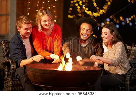 Group Of Friends Toasting Marshmallows By Firepit