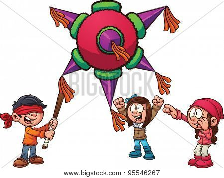 Kids playing with piñata. Vector clip art illustration with simple gradients. Each element on a separate layer.