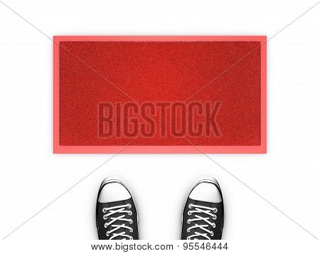 Concept illustration showing shoes in front of a red door map