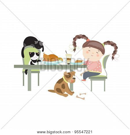 Dinner with pets