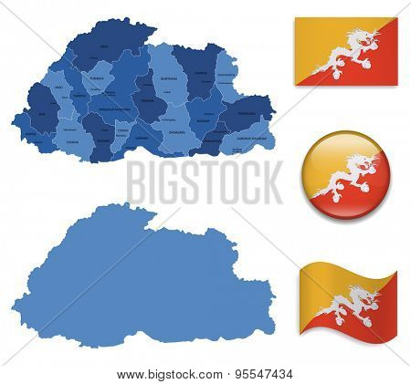 High Detailed Map of Bhutan With Flag Icons