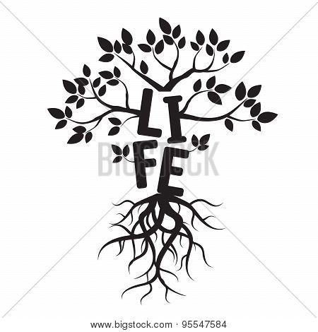 Black Vector Tree, Roots, And Text Life
