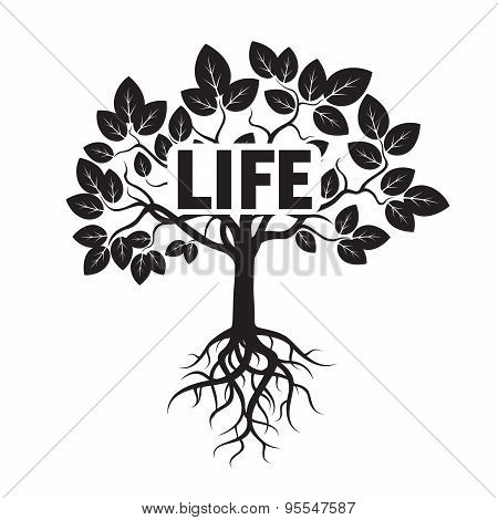 Black Vector Tree, Leafs, Roots, And Text Life