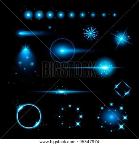 Creative concept Vector set of glow light effect stars bursts with sparkles isolated on black backgr