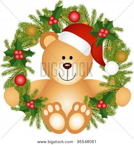 Teddy bear sitting in a Christmas wreath