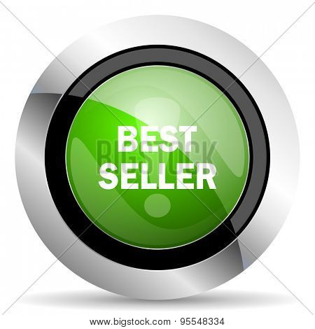 best seller icon, green button