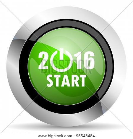 new year 2016 icon, green button, new years symbol