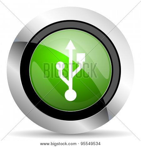 usb icon, green button, flash memory sign