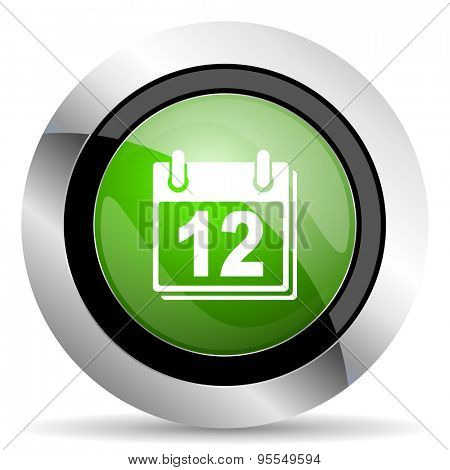 calendar icon, green button, organizer sign, agenda symbol