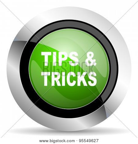tips tricks icon, green button