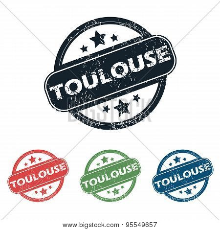 Round Toulouse city stamp set