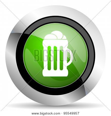 beer icon, green button, mug sign