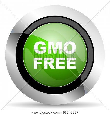 gmo free icon, green button, no gmo sign