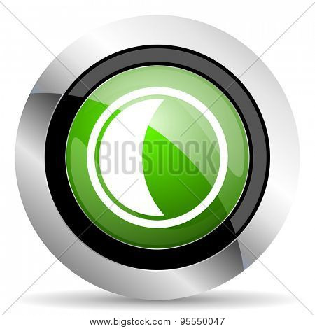 moon icon, green button, sleep sign