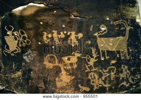 Creation Myth Petroglyph With Bullet Holes
