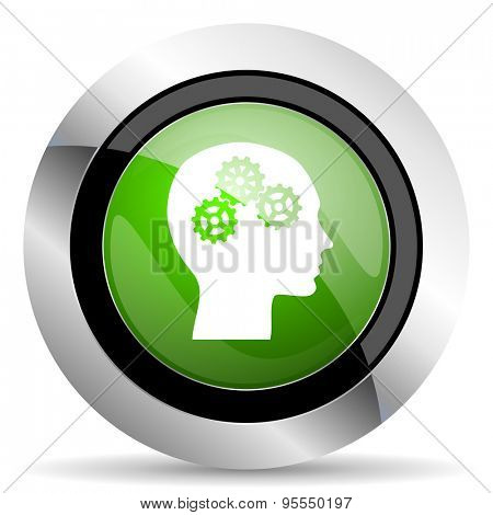 head icon, green button, human head sign