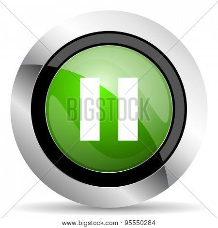 pause icon, green button