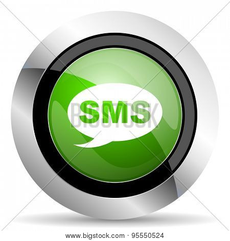 sms icon, green button, message sign